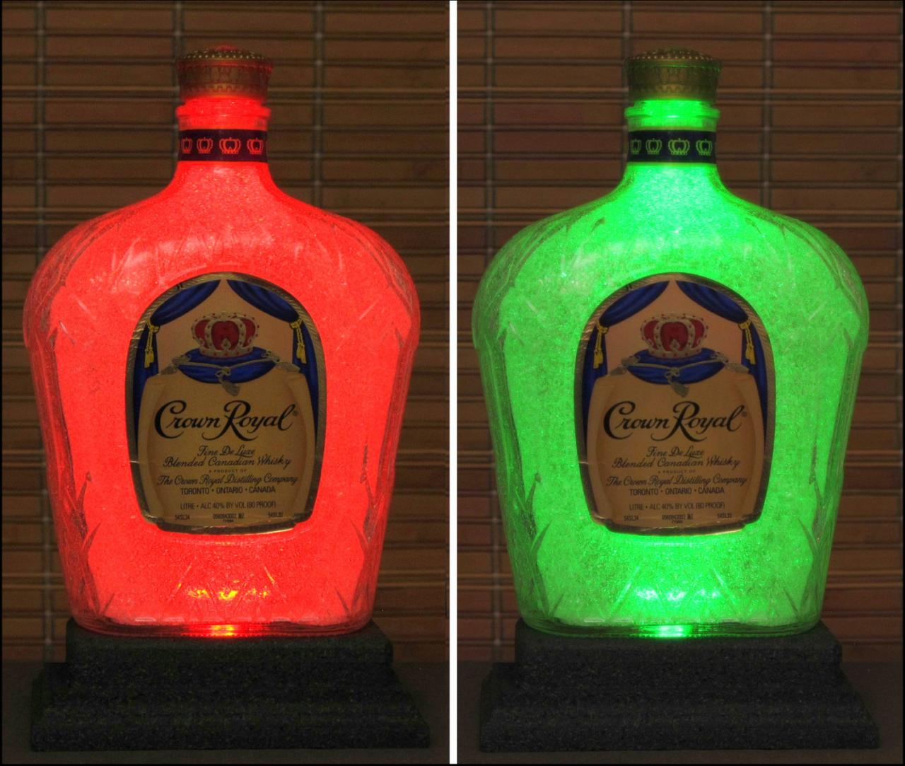 Crown Royal Whiskey 1 Liter Color Changing LED Remote Control Eco LED Bottle Lamp Bar Light Intense Sparkle-Bodacious Bottles-