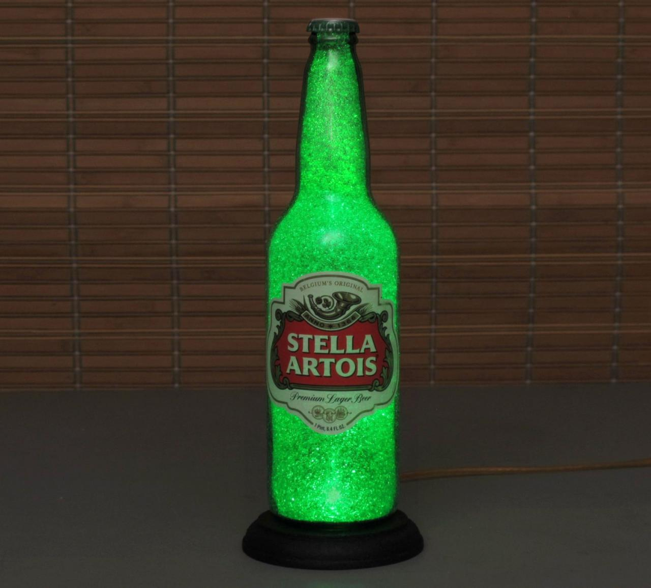 Big 24oz Stella Artois Beer Bottle Lamp Bar Light VIDEO DEMO Intense Sparkle and Glow / 'Diamond Like' Glass Crystals on Inside Surface