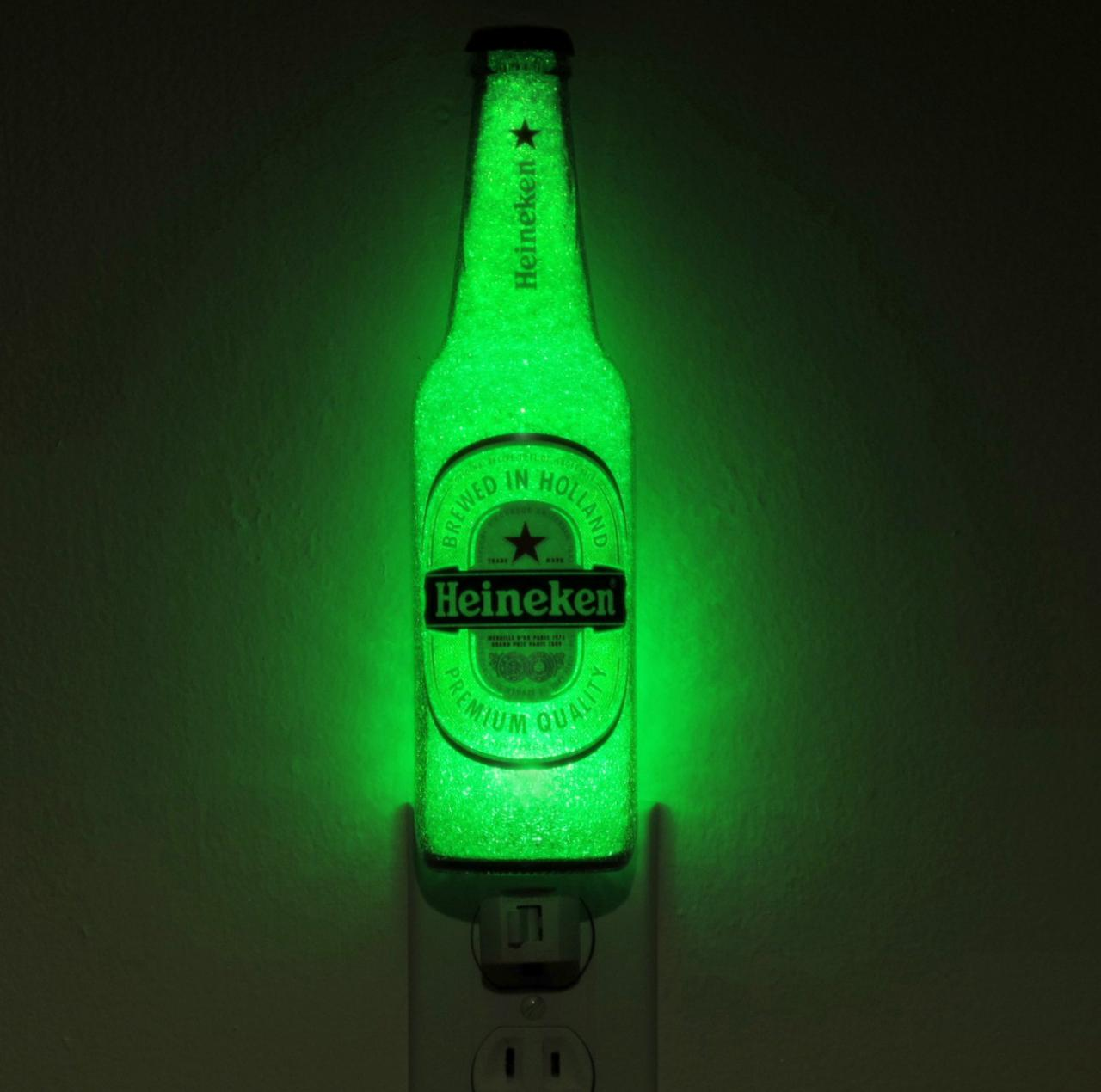 Heineken Beer LED Night Light 12oz Bottle Lamp Glow Bar Man Cave ...