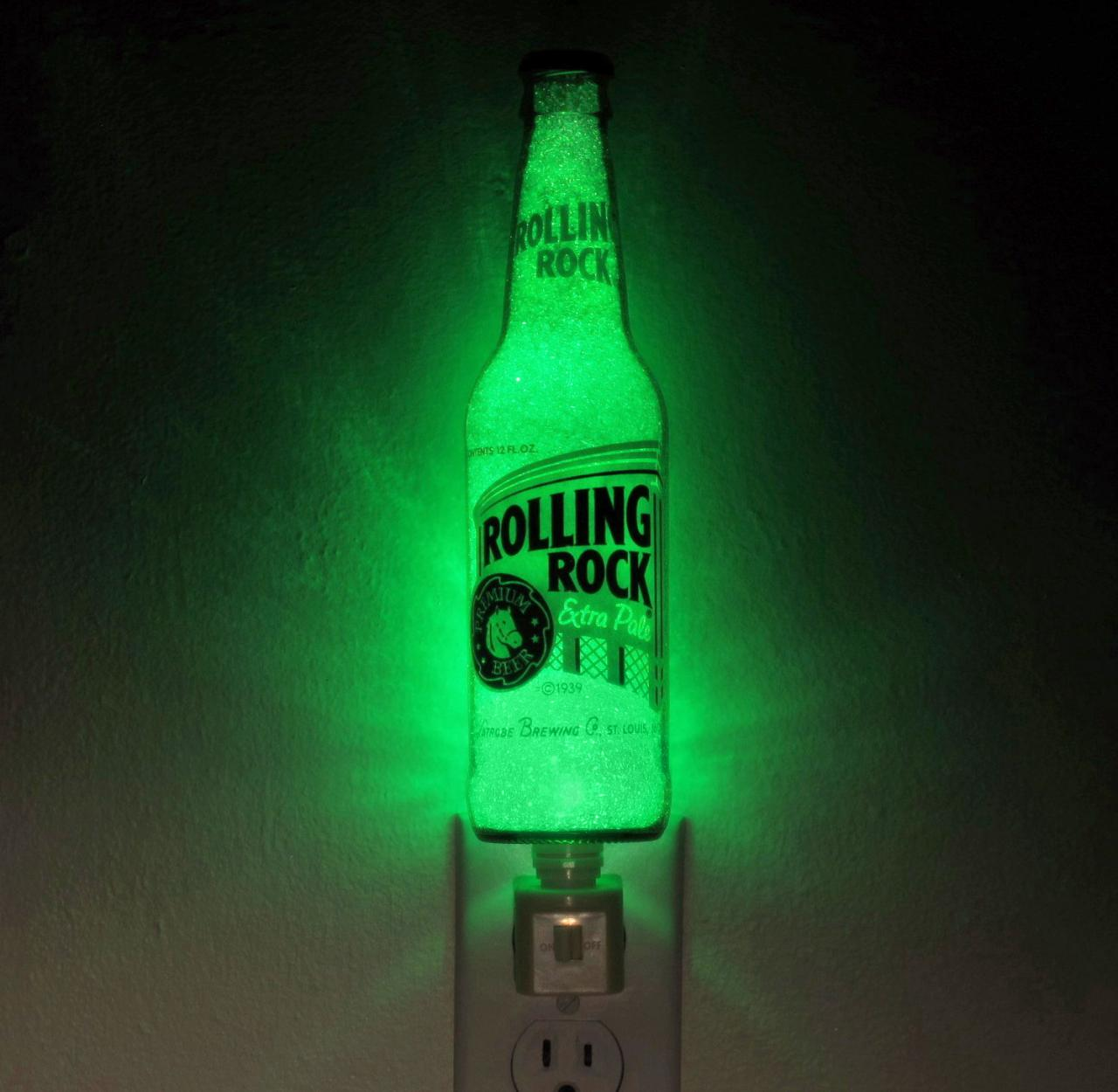 "Rolling Rock Night Light 12oz Accent Lamp Eco LED ""Diamond Like"" Glass Crystal Coating on interior"
