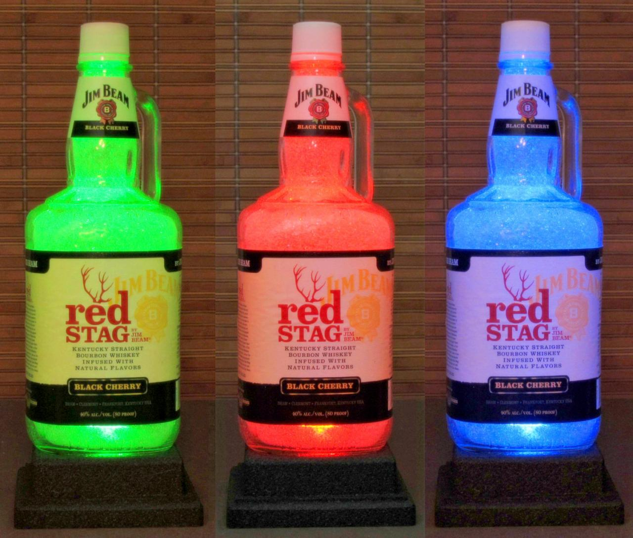 Jim Beam Red Stag Bourbon Whiskey Big 1.75 Liter Bottle Lamp Color Changing Remote Controlled LED Bar Light Bodacious Bottles