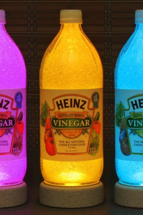 Heinz Vinegar 1 Quart Remote Control Glass Color Changing Bottle Lamp Kitchen Light Restaurant Decor Accent Light Bodacious Bottles