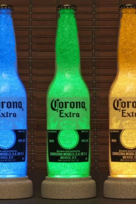 Corona Beer 12 oz Remote Control Color Changing Bottle Lamp Bar Light Accent lamp Glass