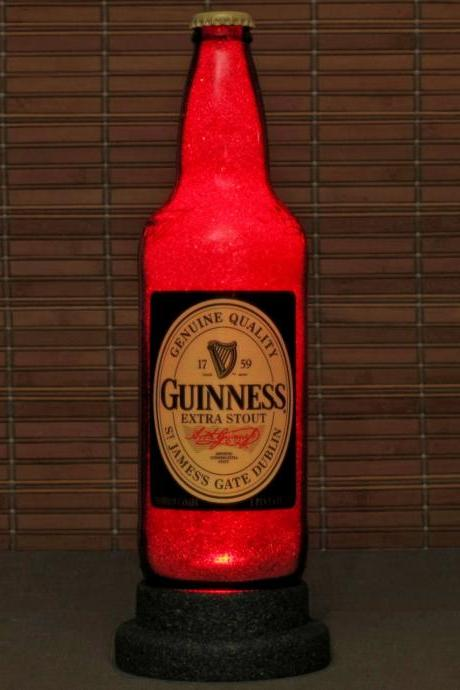 Guinness Stout Big 22oz Beer Bottle Lamp Light Bar Man Cave Deep Ruby Red Glow