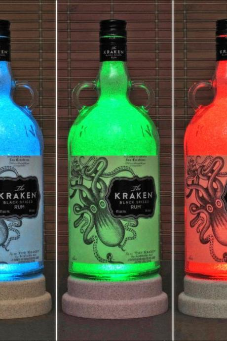 Kraken Black Spiced Rum Color Changing Remote Control LED Bottle Lamp Bar Light Sign Man Cave