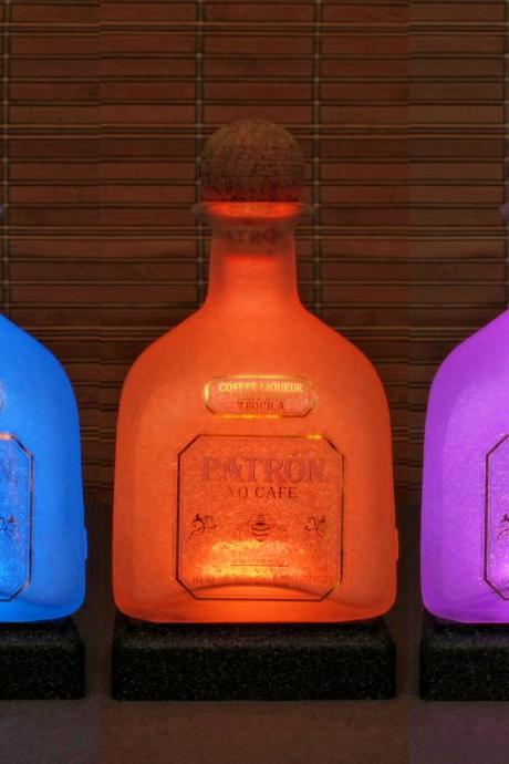 Patron Tequila XO Cafe Coffee Big 1.75 liter 16 Color Remote Control Lighted Bottle Lamp Bar Light Bodacious Bottles