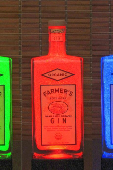 Farmers Organic USA Gin Color Changing Remote Control Bottle Lamp Accent Light LED Bar Lamp