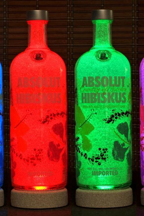 Absolut Hibiskus Hibiscus Vodka Color Changing LED Bottle Lamp Remote Control Bar Light Man Cave Lighting Bodacious Bottles