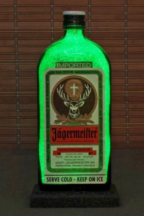 Jagermeister Liqueur 1 Liter LED Bottle Lamp Light Bar Sign Man Cave Sparkle Germany
