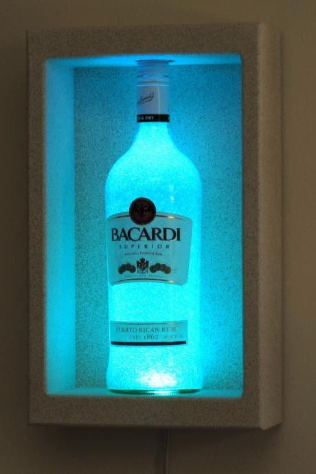 Bacardi Rum Shadow box Wall Mount or Tabletop Color Changing Bottle Lamp Bar Light LED Remote Controlled Eco Friendly