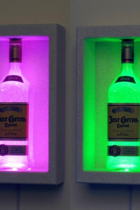 Jose Cuervo Tequila Shadow box Sconce Color Changing Lighted Bottle Lamp Bar Light LED Remote Controlled Eco Friendly LED