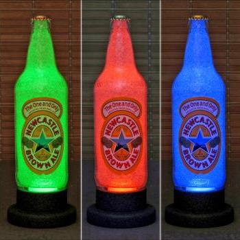 New Castle Brown Ale 550 ml LED Color Changing Bottle Lamp Remote Bar Light Pub