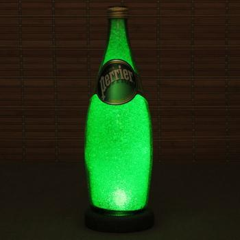 Perrier French Spring Water 24 oz Bottle Lamp Bar Night Light Emerald Green Sparkle and Glow