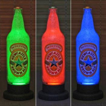New Castle Brown Ale Beer 18oz LED Color Changing Bottle Lamp Remote Bar Light Pub