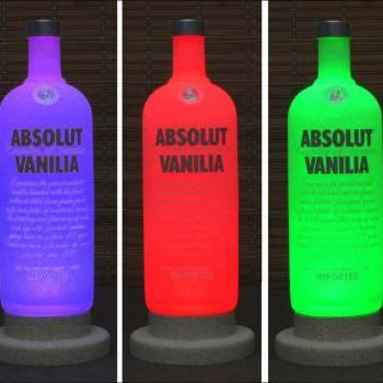 Absolut Vanilia Vodka Color Changing LED Remote Controlled Bottle Lamp Bar Light Intense Sparkle-Bodacious Bottles-
