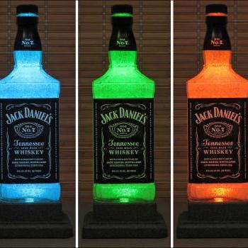 Jack Daniels Whiskey Color Changing LED Remote Controlled Bottle Lamp Bar Light Bodacious Bottles