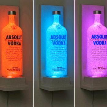 Absolut Vodka Wall Mount Vodka Color Changing LED Remote Control Bottle Lamp Bar Light Bodacious Bottles-