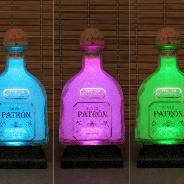 Patron Silver Tequila Remote Controlled 16 Color Changing LED Liquor Bottle Lamp Bar Light Man Cave Bodacious Bottles