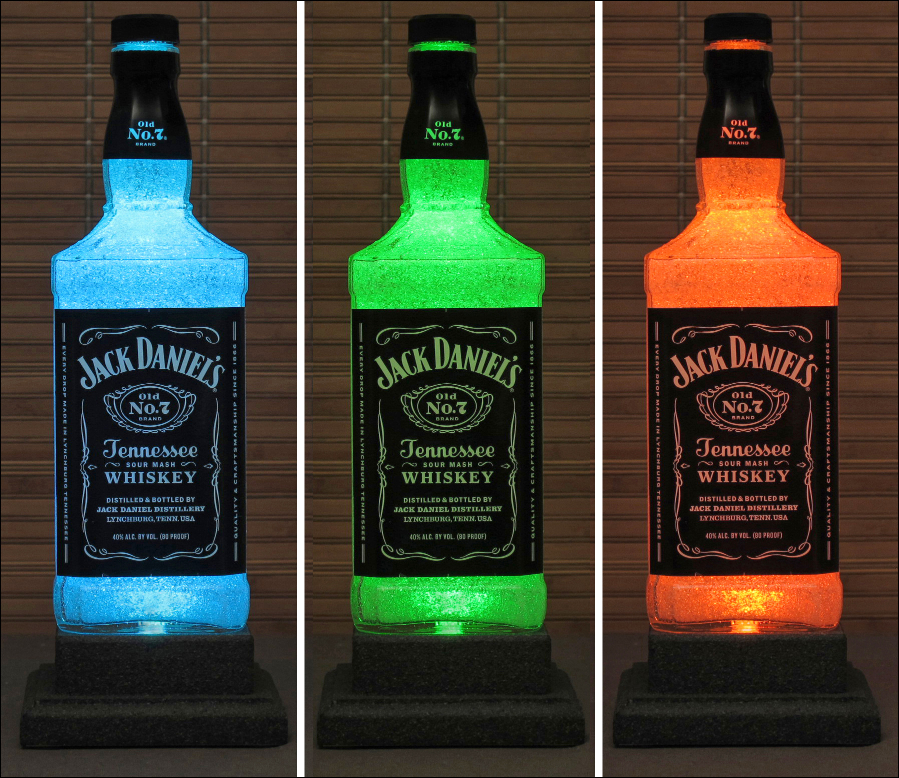 a782b10067 Jack Daniels Whiskey Color Changing LED Remote Controlled Bottle Lamp Bar  Light Bodacious Bottles